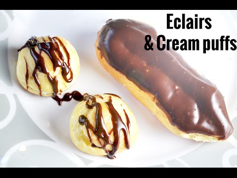 Eclairs and cream puffs filled with whipped cream