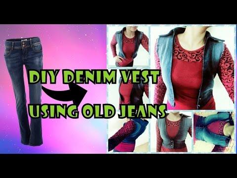 Diy denim vest using old jeans