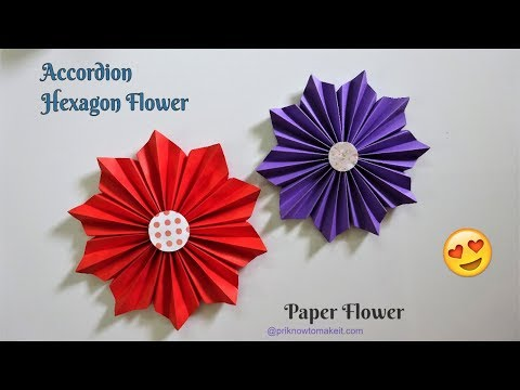How To Make Paper Flower - #Accordion Hexagon Flower #DIY Handmade Craft - Paper Craft