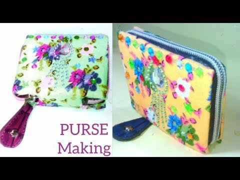 DIY Handmade purse at home-Zipper bag making-Female hand purse tutorial-New Purse making ideas