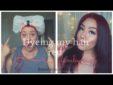 HOW TO:  DARK HAIR TO RED HAIR  | LOREAL HICOLOR HIGHLIGHTS|  Glambyveevee