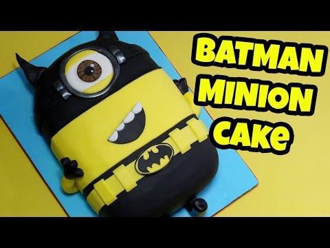 MINION BATMAN CAKE! How to make 3d Minion Batman cake tutorial