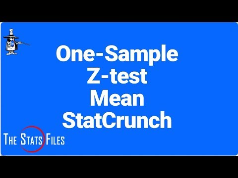 Find Z-stat and p-value Hypothesis test for Mean, Sigma Known StatCrunch.