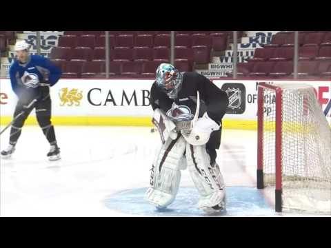 Gotta See It: Roy takes to Avalanche practice in goalie gear