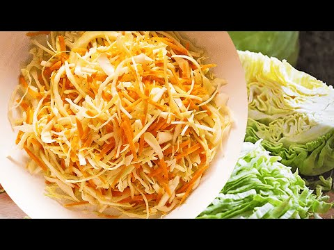 Raw Carrots and Cabbage Salad with Vinegar