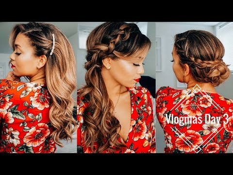 Vlogmas Day 3 | 3 Easy Holiday Hairstyles ft. Foxy Locks Extensions | Ashley Bloomfield