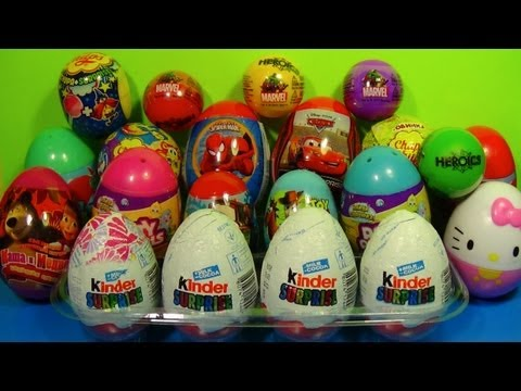 20 Kinder Surprise and Surprise Eggs SpongeBob CARS TOY Story SPIDER MAN Hello Kitty