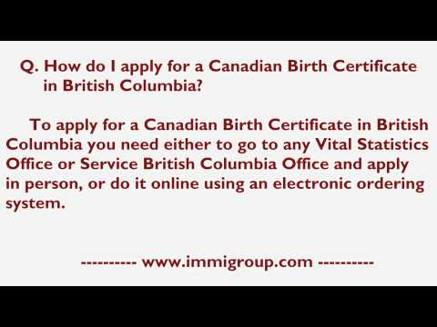 How Do I Apply For A Canadian Birth Certificate In British Columbia?