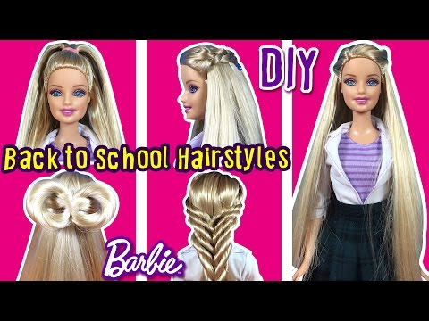 Back To School Hairstyles of Barbie Doll - DIY Barbie Hair Tutorial - Making Kids Toys