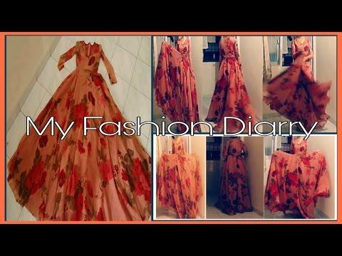 Convert old saree into Beautiful umbrella long gown ||  DIY  ||