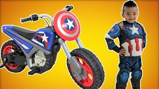 Captain America Electric Ride On Motorcycle 6V Unboxing Superhero In Real Life Ckn Toys
