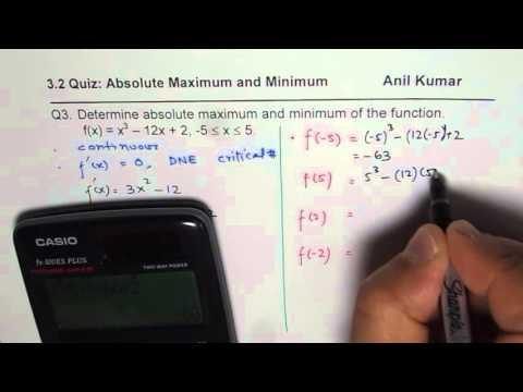 Determine Absolute Maximum and Minimum for Cubic Function