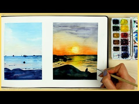 How to Paint a Sunset with Watercolors for Beginners | Art Journal Thursday Ep. 12