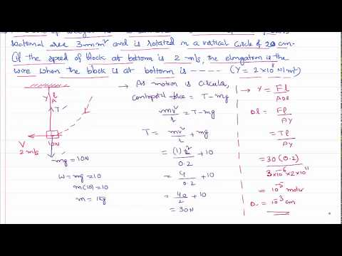 Elongation at Bottom of Vertical Circle in Mechanical Properties of Solids in IIT-JEE and NEET
