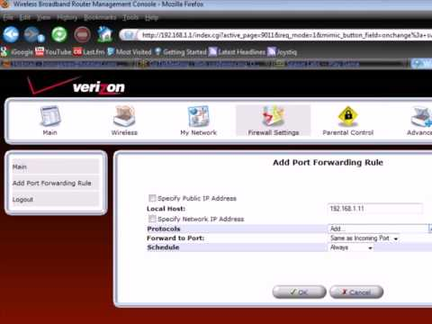 Configuring your Verizon FiOS router for the Spawn HD-720
