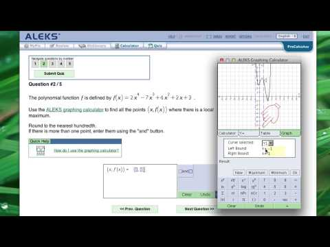 Use graph calc to find local extrema