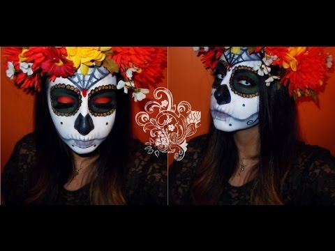 Halloween: Day of the Dead Sugar Skull inspired makeup tutorial