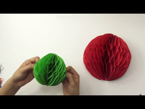 Paper Crafts: How to make a Paper Honeycomb Ball DIY 2018 | Christmas decoration wall art