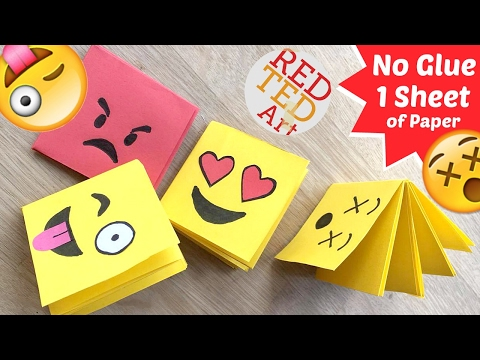 Easy Emoji Notebook ONE Sheet of Paper - NO GLUE Notebook - Emoji Notebook DIY - Paper Crafts