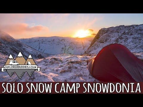 AWESOME SNOW covered MOUNTAIN Solo WILD CAMP Snowdonia Aran Ridge