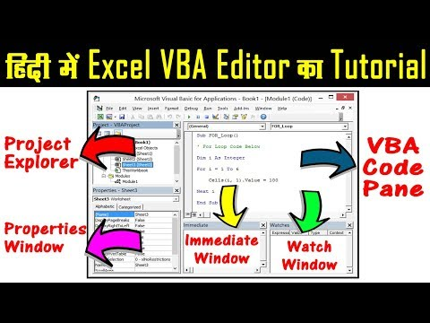 Excel VBA Editor Tutorial in Hindi | Excel VBA Code Window Tutorial | VBA User Interface | Part 3