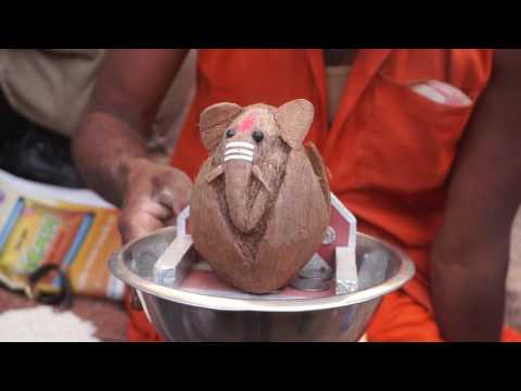 how to make ganesha with coconut shell | coconut shell craft for kids | coconut ganesha