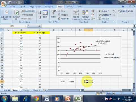Correlation and Regression by using excel