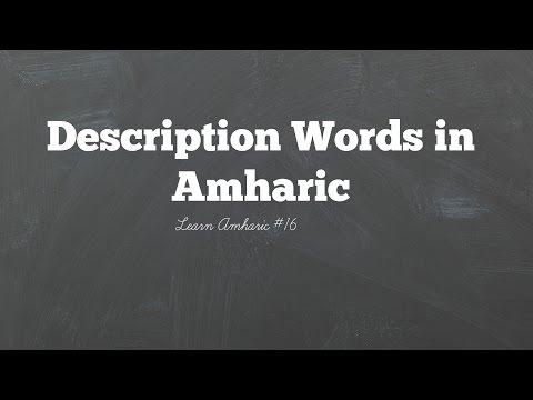 Description words in Amharic: Learn Amharic #16