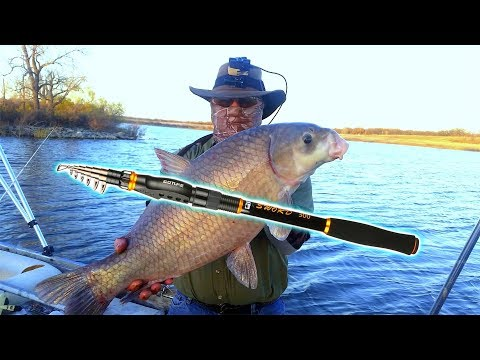 🤠 REVIEW: Goture SWORD Telescopic Carbon Fiber Rod.  Live fishing test. Huge Fish caught!