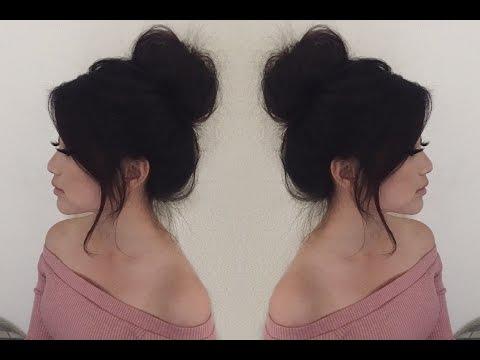 Everyday Messy Hair Bun Tutorial   Medium Length Hair