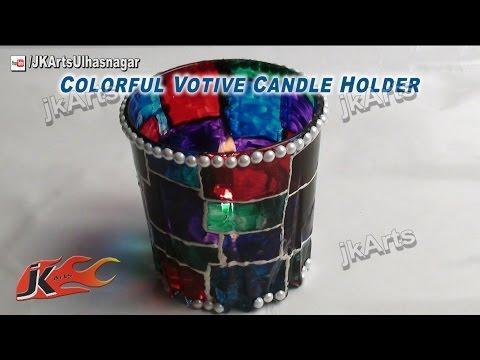 DIY How to make Colorful Votive Candle Holder JK Arts 418