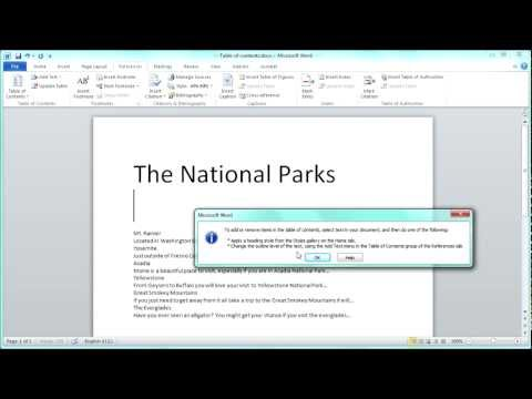 MS Word Table of Contents Tutorial