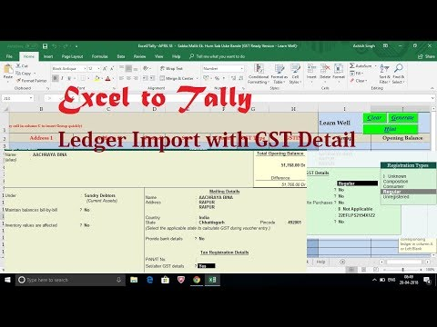 Excel to Tally - GST Ledger Import - With All Details