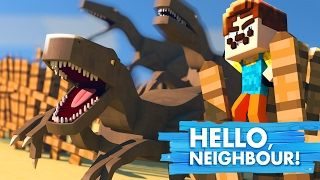 Minecraft Baby Hello Neighbour - THE NEIGHBOUR RELEASES ALL THE DINOSAURS!
