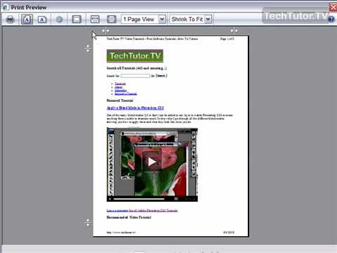 Use Print Preview in Internet Explorer 7