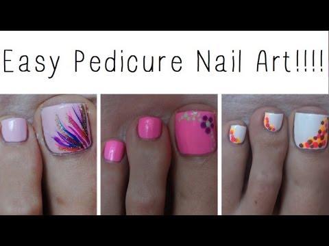 Easy Pedicure Nail Art!!! Three Cute Designs!