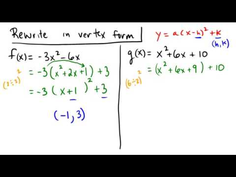 Completing the square to write a quadratic in vertex form