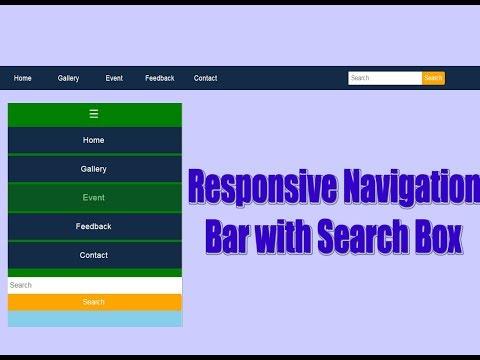 Responsive Navigation Menus and Bar with Search Box