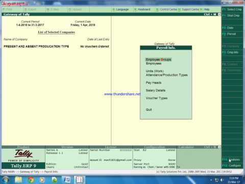 Payroll With Present and Absent Production Type In Tally ERP 9