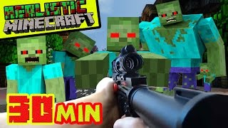 REALISTIC MINECRAFT - ZOMBIE APOCALYPSE - STEVE vs 1,000 ZOMBIES  + GIANT ZOMBIE EPIC BATTLE