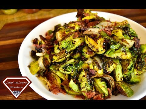 Roasted Brussel Sprouts and Bacon with Balsamic Reduction |Holiday Series |Cooking With Carolyn