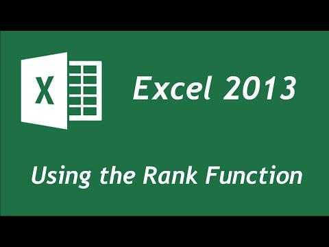 Excel 2013 - Rank function tutorial