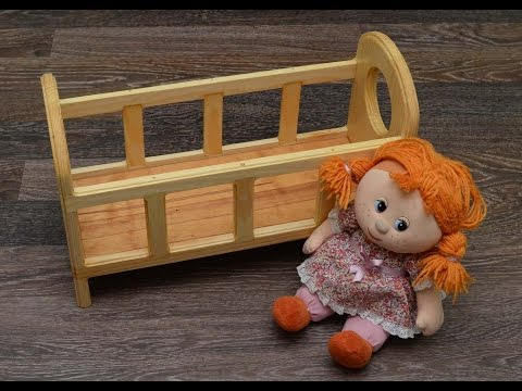 Simple wooden bed for child's toys
