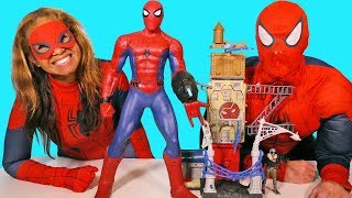Giant Super Sense Spider Man & Vulture Attack Playset ! || Toy Review || Konas2002