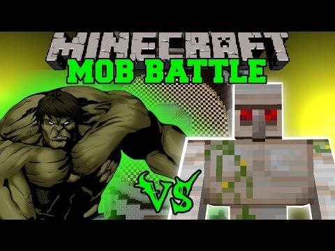 HULK VS MUTANT IRON GOLEM - Minecraft Mod Battle - Mob Battles - Superheroes Mods
