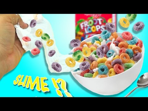 DIY FROOT LOOPS SLIME !?! // How to make slime out of cereal !?!  Instagram slime !!  Cereal slime !