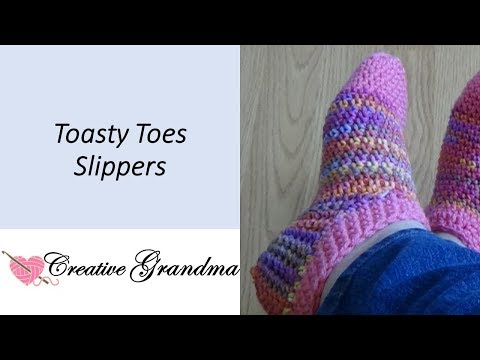 Toasty Toes Slipper Socks (Easy) Free Pattern at end of video