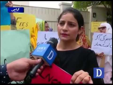 Parents protest against the rise of tution fee in schools