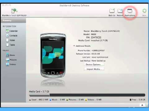 Adding and removing applications using BlackBerry Desktop Software 2.0 for Mac