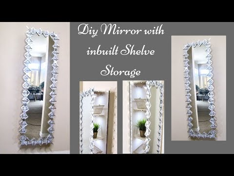 Diy Decorative Wall Mirror with Inbuilt Storage! Quick and Easy Home improvement Ideas!
